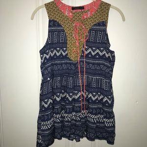 Anthropologie HTML mixed print sleeveless blouse